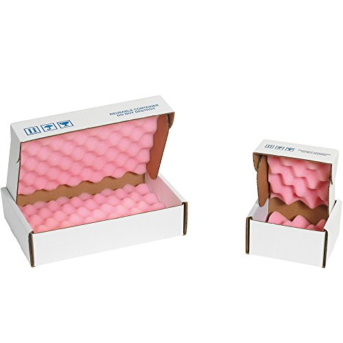 Boxes Fast BFFSA14142 Anti-Static Foam Shippers, Load Capacity, 14'' Length, 14'' width, 2.75'' Thick,, Pink/White (Pack of 24) by Boxes Fast