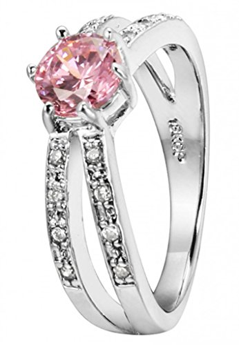 Alimab Women's 18K White Gold Plated Finger Rings 2 Rows Charming CZ 6 Claws Promise Love Pink US Size 6