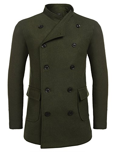 Zuckerfan Winter Mens Stylish Fashion Classic Wool Blend Double Breasted Pea Coat(X-Large,Army Green) (Style Wool Jacket)