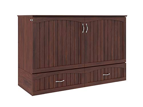 Atlantic Furniture Southampton Murphy Bed Chest with Charging Station & Mattress, Queen, Walnut