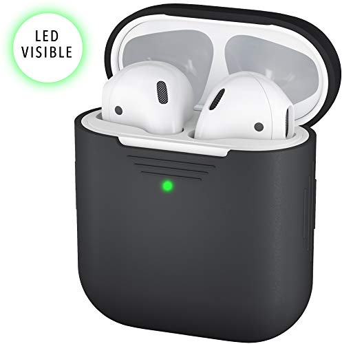 PodSkinz AirPods 2 & 1 Case [Front LED Visible] Protective Silicone Cover and Skin Compatible with Apple AirPods (Black)