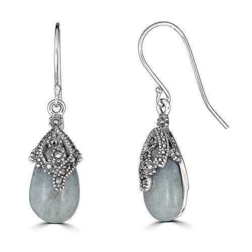 Sterling Silver Genuine Marcasite & Jade Teardrop Dangle - Earrings Teardrop Marcasite