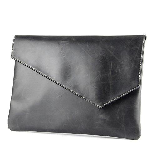 Men PU Leather Large Envelope Bag Clutch Document Bag A4 Book Bag ()