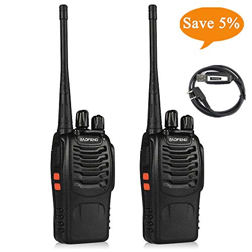 Ksun BF-888S Emergency Communication Radio 2pcs Walkie Talkie 16 Channels Signal Band UHF 400-470MHz Portable Ham CB Two Way Radio Long Range and Reachargeble with Earpieces with Built in LED Torch