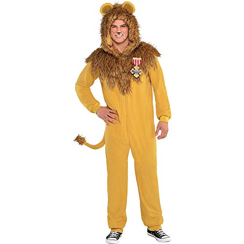 SUIT YOURSELF The Wizard of Oz Zipster Cowardly Lion One-Piece Costume for Adults, Standard Size, Includes Hood and Ears]()