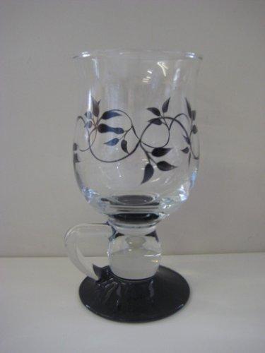 Pair of Hand Painted Black Swirl Design Irish Coffee Glasses