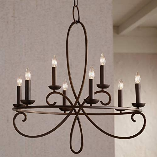 Foxvale Bronze Chandelier 26 1 2 Wide Open Scroll Frame 8-Light Fixture for Dining Room House Foyer Kitchen Island Entryway Bedroom Living Room – Franklin Iron Works