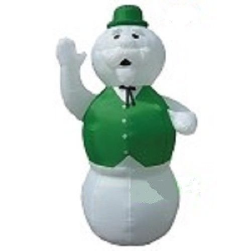 Christmas Inflatable 7' Sam The Snowman Wearing a Green Vest & (Sam Snowman)