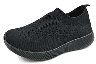 Kids Athletic Slip On Elastic Breathable Mesh Sneakers Black Size: 1 Little Kid