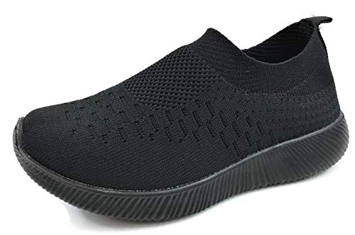 Kids Athletic Slip On Elastic Knit Breathable Mesh Sneakers, All Black, 2 by Dream On