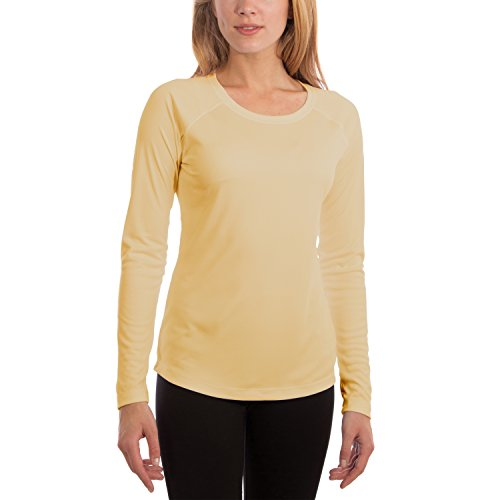 Vapor Apparel Women's UPF 50+ Long Sleeve UV (Sun) Protection Performance T-Shirt Large Pale Yellow (Hiking Clothing)