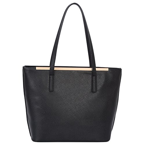 Black Faux Leather Satchel Work Shopper Totes Bags Top Handle Purse for Womens ()
