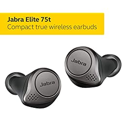 Jabra Elite 75t Earbuds - Alexa Enabled, True Wireless Earbuds with Charging Case, Titanium Black - Bluetooth Earbuds with a More Comfortable, Secure Fit, Long Battery Life and Great Sound Quality