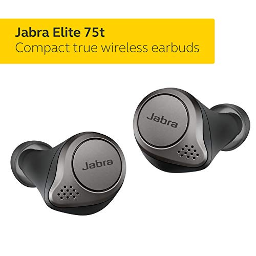 Jabra Elite 75t Earbuds – True Wireless Earbuds with Charging Case, Titanium Black – Bluetooth Earbuds with a More Comfortable, Secure Fit, Long Battery Life and Great Sound Quality