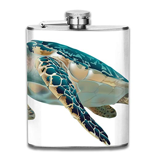 FTRGRAFE Turtle Clipart Fish Fashion Portable 304 Stainless Steel Leak-Proof Alcohol Whiskey Liquor Wine 7OZ Pot Hip Flask Travel Camping Flagon for Man Woman Flask Great Little Gift ()