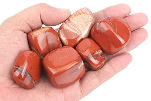 ZenQ 1/2 lb Tumbled Red Jasper Stones, Natural Red Jasper from South Africa