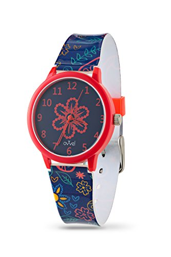 Ovvel Girls Watch   Pretty And Cute Kids Wrist With Teaching Analog Display Time Teacher   Japanese Quartz Movement   Bonus Gift Box   Navy And Red Paisley Design Strap