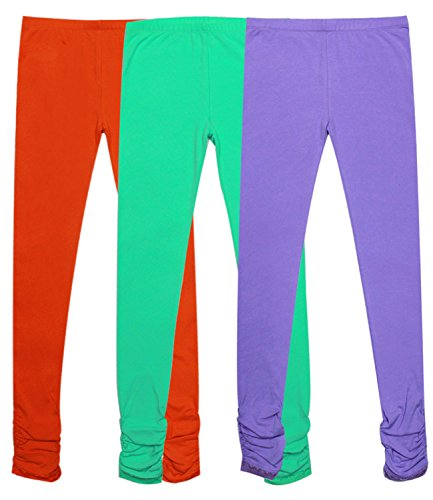 Bienzoe Girl's Knit Cotton Stretch School Uniform Lace Antistatic Legging 3 Pack E Size 16, Orange/Green/Lt Purple