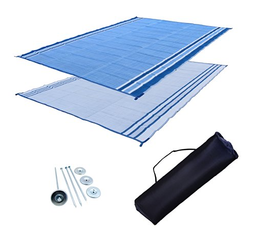 Ez Mat (RV Patio Mat: 9x18 Extra-Wide Ocean Blue RV Mat)