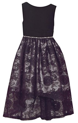 Bonnie Jean Sleeveless Black Dress with Velvet Bodice and Lace Overlay Skirt 10Y ()