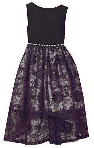 Bonnie Jean Sleeveless Black Dress with Velvet Bodice and Lace Overlay Skirt 5Y - Bonnie Jean Velvet Skirt