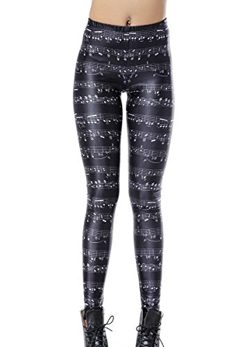 Mosszra Sheet Musical Notes Digital Printing Stretch Tights Ankle Leggings