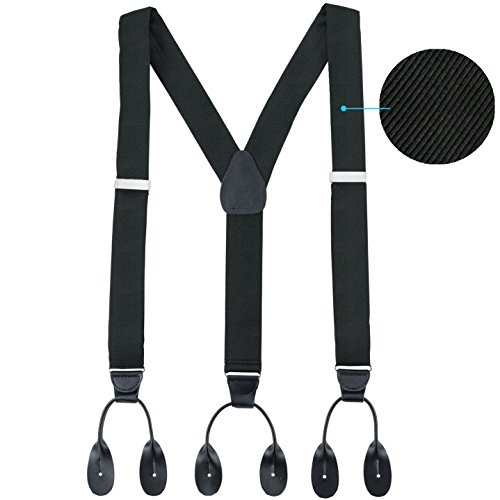 Hold'Em 100% Silk Suspenders Men Y-Back Fancy Solid Button End-Black Twill XL ()