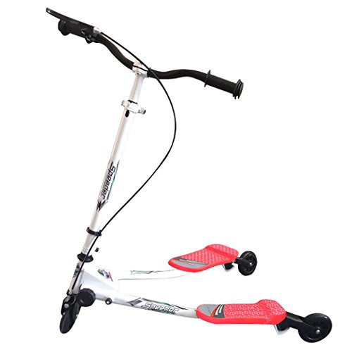 Ancheer Kids Speeder Tri Slider Wiggle Push Scooter 2 Footed 3 Wheels Foldable Kick Swing Trike Striker Drifter Y Flicker Scooter for Children Age 5+ (Red1)