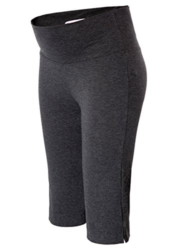 (Maternity Over The Belly Capri Crop Support Leggings Pants Deep Grey 2XL)