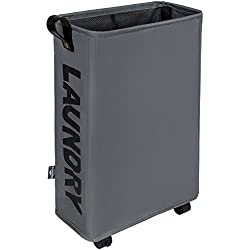 DOKEHOM DKA0210DGM Large Laundry Basket with Lather Handle and Wheel (3 Colors, M and L), Collapsible Fabric Laundry Hamper, Foldable Clothes Organizer, Folding Washing Bin (Dark Grey, M)