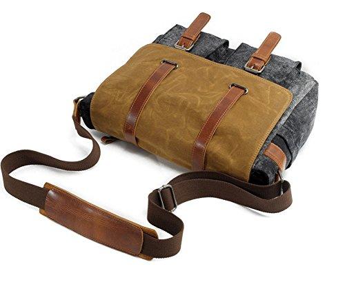 YAAGLE vintage Umhängetasche Segeltuch mit echt Leder Kamaratasche für DSLR-Kamera und Zubehör Digital-Spiegelreflex-Kameratasche grün DQvms