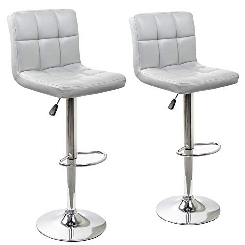 Display4top Height Adjustable Modern Swivel Square Bar Stools with Comfy Back Rest,Faux Leather Hydraulic Kitchen Chairs Set of 2 (Grey) ()