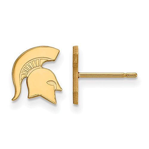 14k Yellow Gold LogoArt Official Licensed Collegiate Michigan State University (MSU) XS Post Earrings by LogoArt