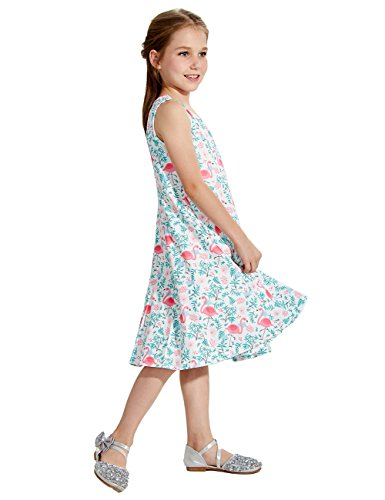 Uideazone Kids Girls Printed Flamingos Floral Cute Sleeveless Dress Sundress White 4-5 Years]()