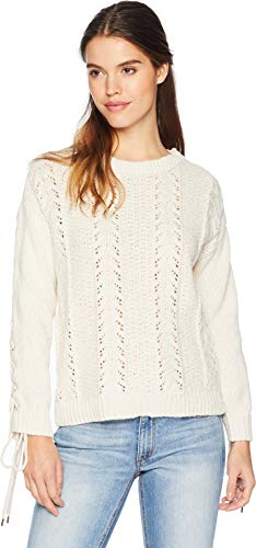 cupcakes and cashmere Women's Gus Slouchy Pointelle Sweater w/lace up Details, Oatmeal, Medium