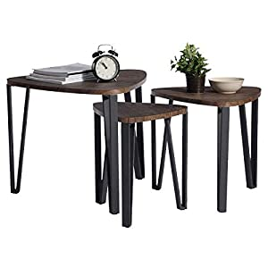 Easy Assembly Industrial Nesting Tables Living Room Coffee Table Sets Stacking End Side Tables Leisure Wooden Nightstands Telephone Table for Home Office,Brown-CAS020