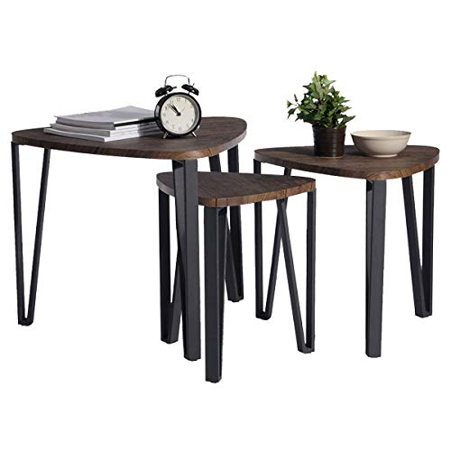 Coavas Nesting Coffee Table Set for Living Room Vintage Industrial Stacking End Side Table Leisure Brown Wooden Night Stand Telephone Table for Home Office Receving Room Balcony