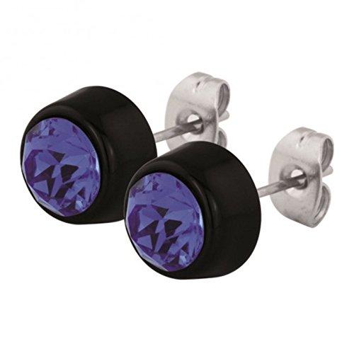 Weiß / White - SB - Sapphire / Blau - Stahl - Ohrring - flach - Kristall - SWAROVSKI - Supernova Concept - 8 mm (Ohrstecker Ohrreifen Ohrschmuck für Damen und Herren)