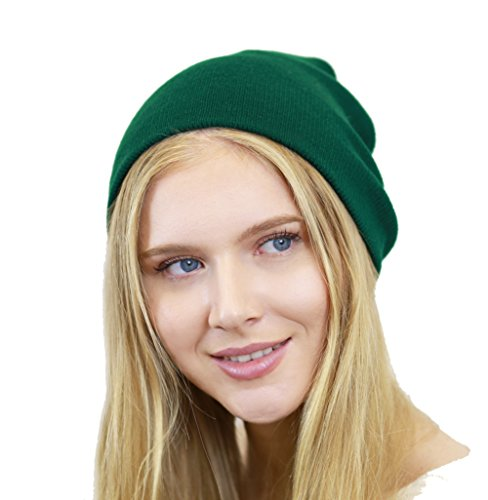 THE HAT DEPOT Made In USA Skull Beanie Hat (Hunter - Cap Knit Beanie Hat Green