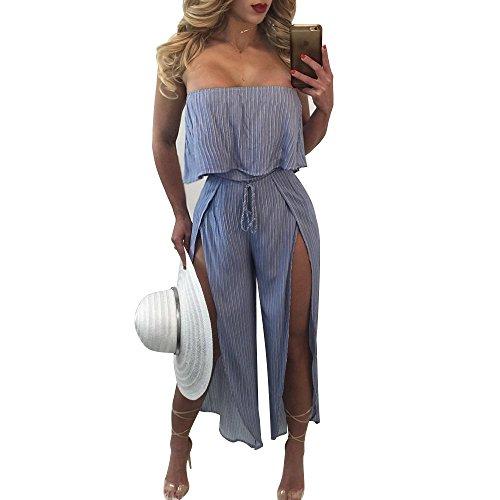 Ehomelife Womens Sexy Off Shoulder Stripe Lace Lotus Leaf Design High Waisted Split Long Wide Leg Pant Jumpsuit (XL)