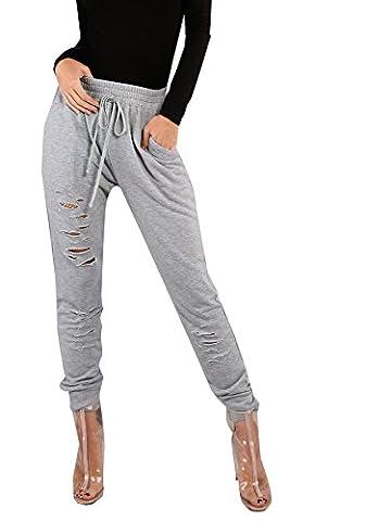 SweatyRocks Women's Sweatpants with Pockets Drawstring Waist Ripped Jogger Pants Grey#1 S