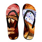 Couple Slipper Doughnut Art Print Flip Flops Unisex Chic Sandals Rubber Non-Slip House Thong Slippers