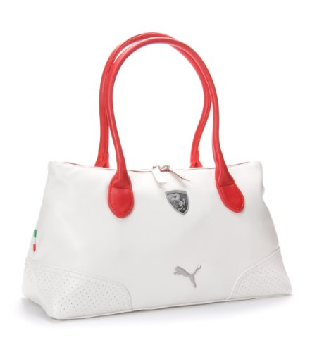 Puma Ferrari Ls Shoulder Hand Bag Boston Bag In White 76