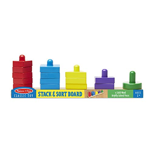 41%2BBOUtjG0L - Melissa & Doug Stack and Sort Board - Wooden Educational Toy With 15 Solid Wood Pieces