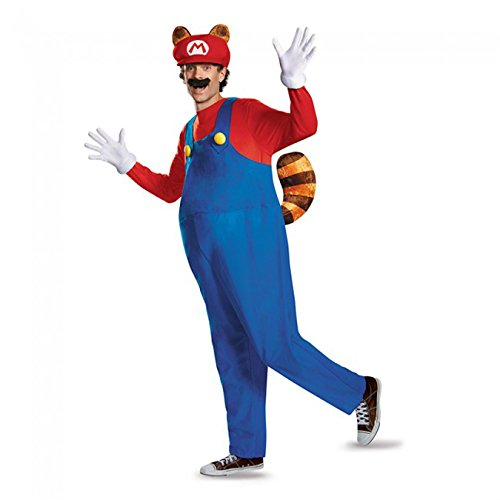 Super Man 2016 Costume (Disguise Men's Plus Size Super Mario Raccoon Deluxe Costume, Red, XX-Large)
