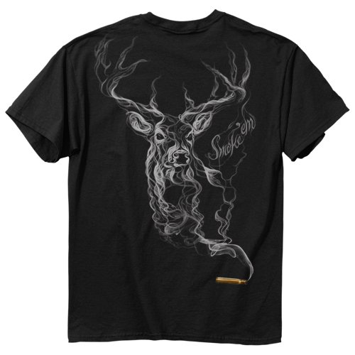 Buckwear Smoke-Deer Short Sleeve Tee, Black, Large
