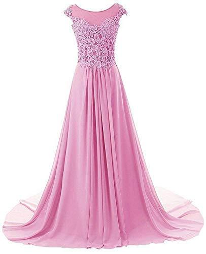 Linie Damen A Brautjungfernkleider Chiffon Abendkleider Ballkleid Lang Rosa Festkleider fpz4Sqqv