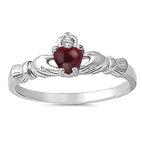 - 925 Sterling Silver Cabochon Natural Genuine Reddish Purple Garnet Claddagh Heart Promise Ring Size 7