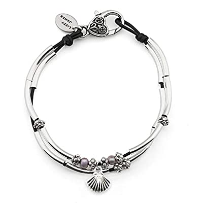 Lizzy James Lucy Anklet in Natural Black Leather Silver Plate Crescents Freshwater Pearls and Silver Shell Charm
