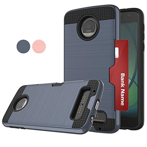 Compatible for Moto Z Play Case,Moto Z Force Phone Case,Motorola Z Play Phone Cover,LDStars[Brushed Texture] Shockproof Protective Case with Card Slots Holder-Navy Blue (Best Moto Z Case)